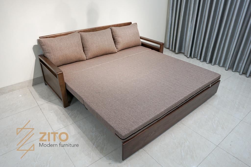 Ghế sofa kết hợp giường ngủ gỗ sồi nga cao cấp cho chung cư