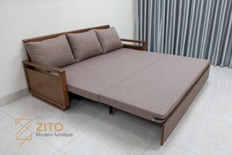 Ghế sofa giường gỗ sồi ZG 152 kéo ra thành giường rộng rãi