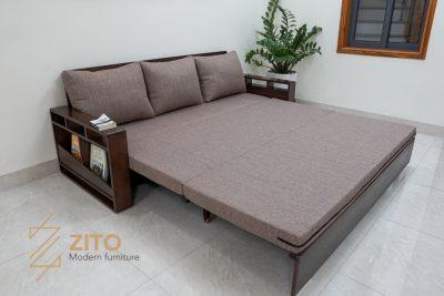 Sofa giường gỗ ZG 153 kéo ra thành chiếc giường rộng rãi