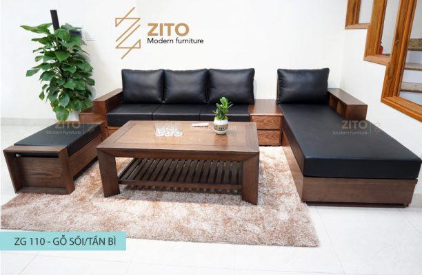 Sofa góc l gỗ sồi nga ZG 110 S09