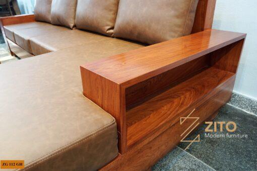 sofa gỗ hương đá chữ L ZG 112 GH, ZG 112 GH