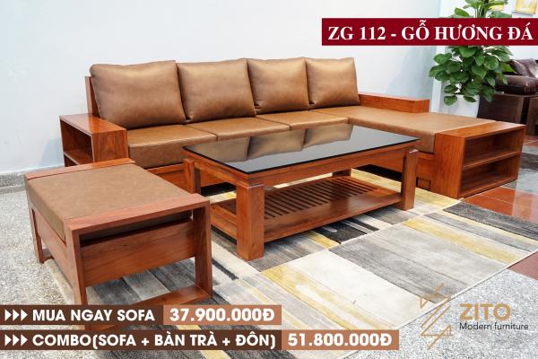 Sofa gỗ hương đá chữ L ZG 112