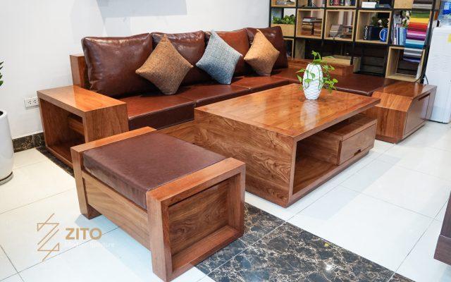 Sofa gỗ hương đá chữ L ZG 118