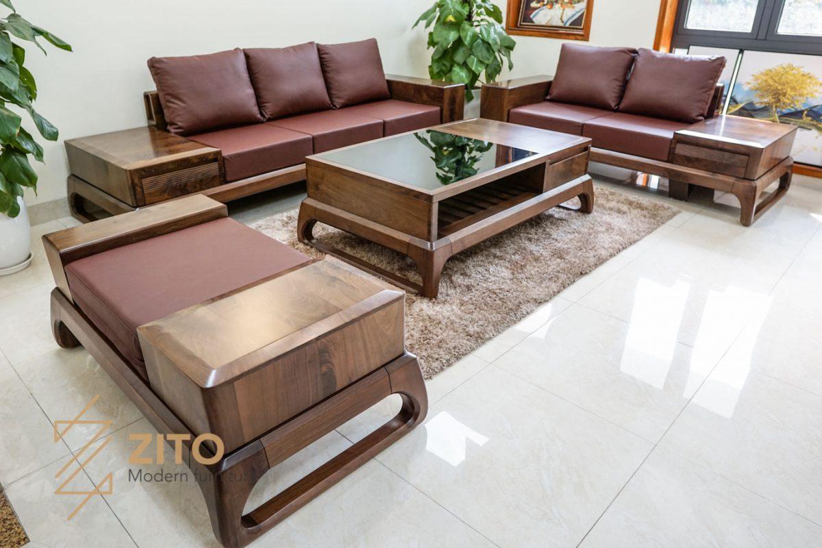 Combo sofa gỗ óc chó cao cấp ZG 156 cho phòng khách lớn