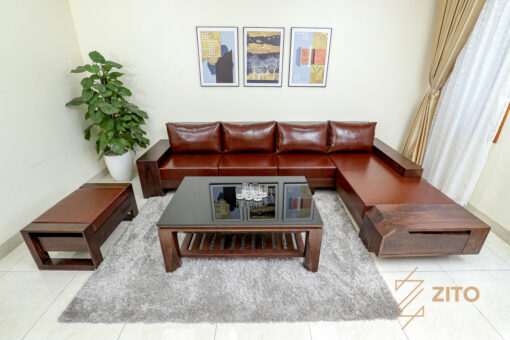 Bộ bàn ghế ZG 118 sự kết hợp hài hòa giữa chất liệu gỗ và đệm da cao cấp mang nét sang trọng thời thượng
