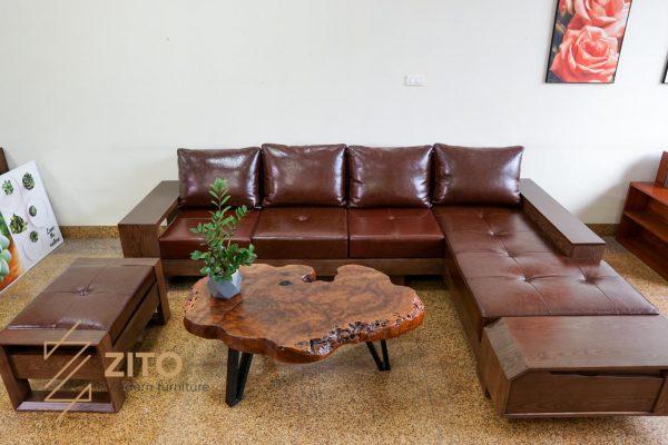 Sofa gỗ sồi chữ L ZG 118 S09