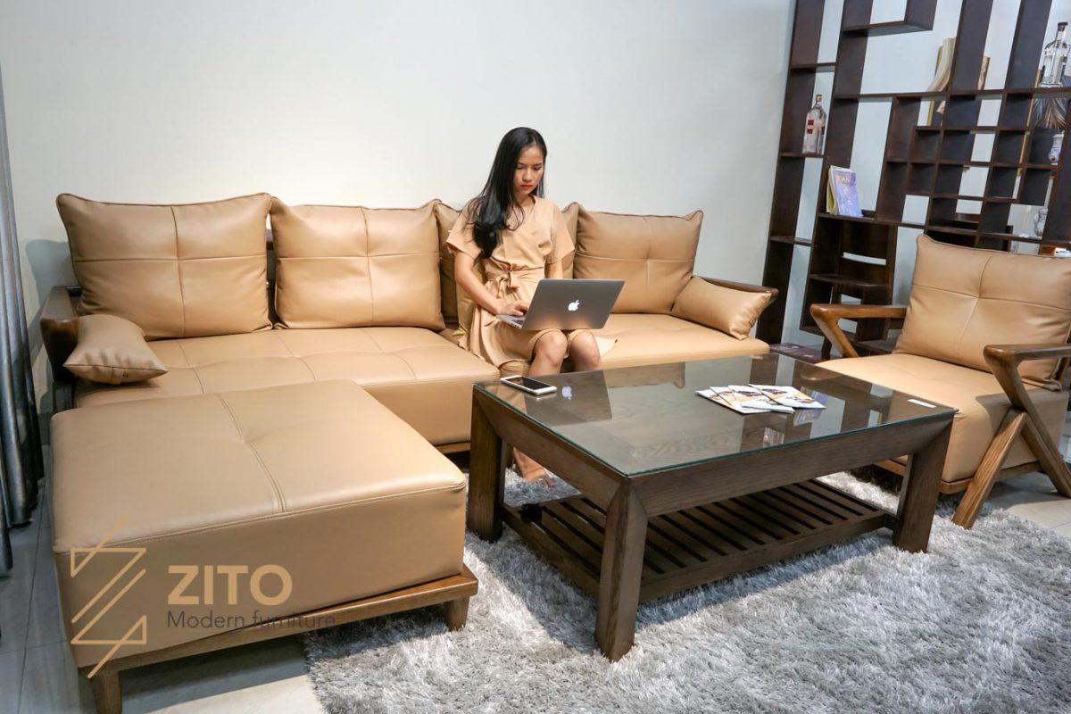 Thiết kế mới lạ của sofa góc gỗ sồi cao cấp ZG 137 S08 cho phòng khách