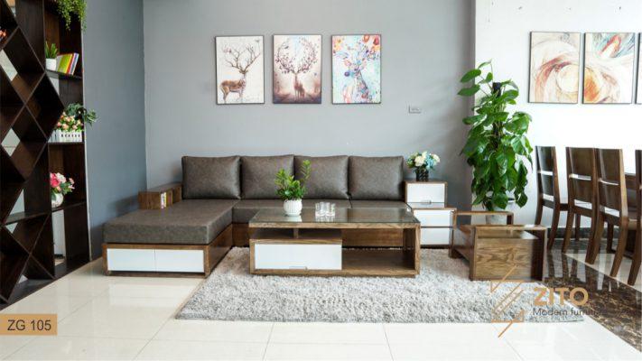 Sofa gỗ Sồi chữ L ZG 105 S08