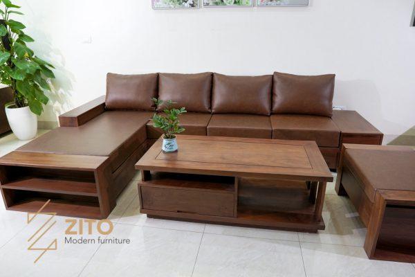 Sofa chữ L gỗ óc chó ZG 106 OC