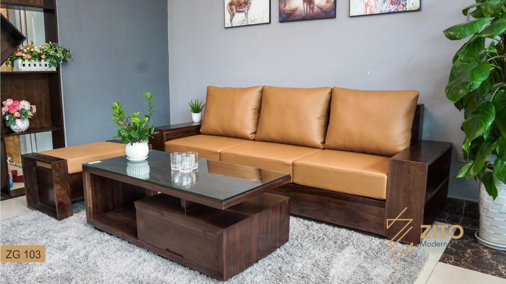 sofa chữ l gỗ óc chó