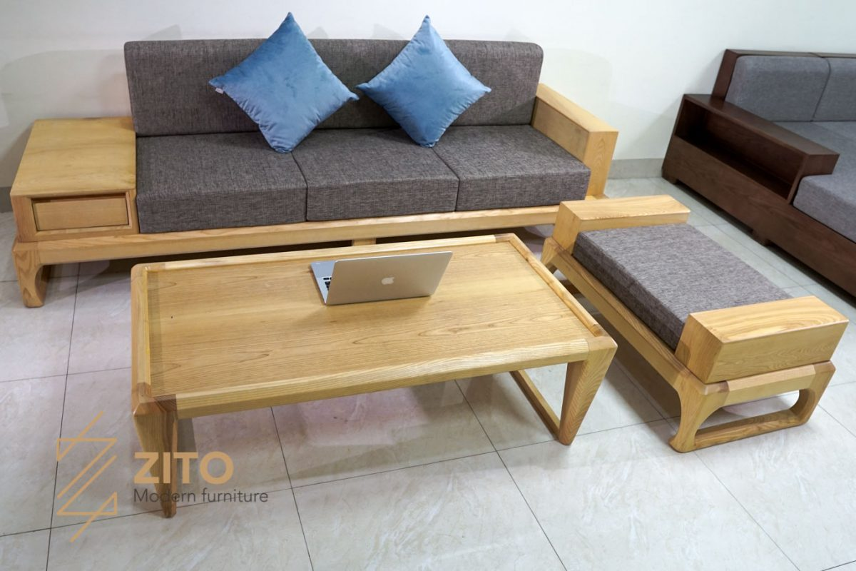 bộ bàn ghế Sofa văng gỗ sồi ZG 133 S03 màu sơn tự nhiên