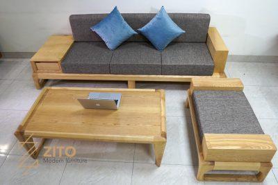 Sofa gỗ ZG 133 sơn màu nguyên bản vàng trẻ trung, hiện đại
