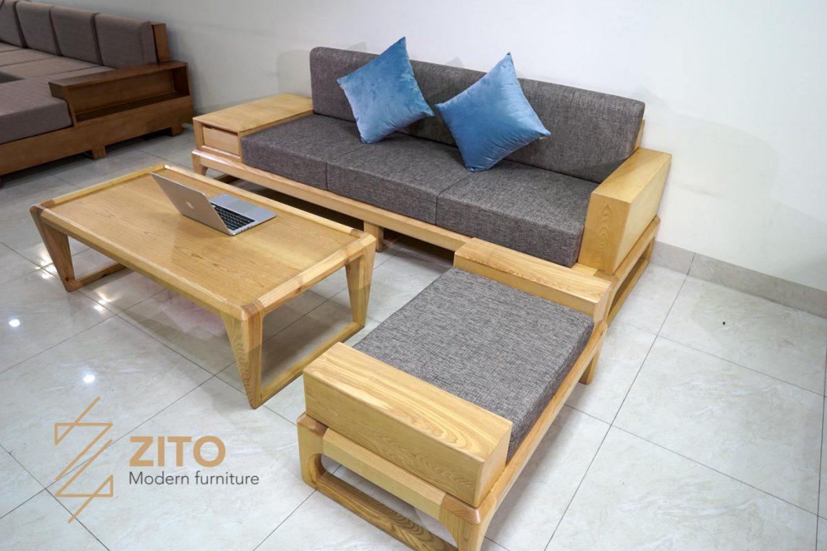 Combo sofa văng gỗ sồi ZG 133 bọc đệm nỉ cao cấp