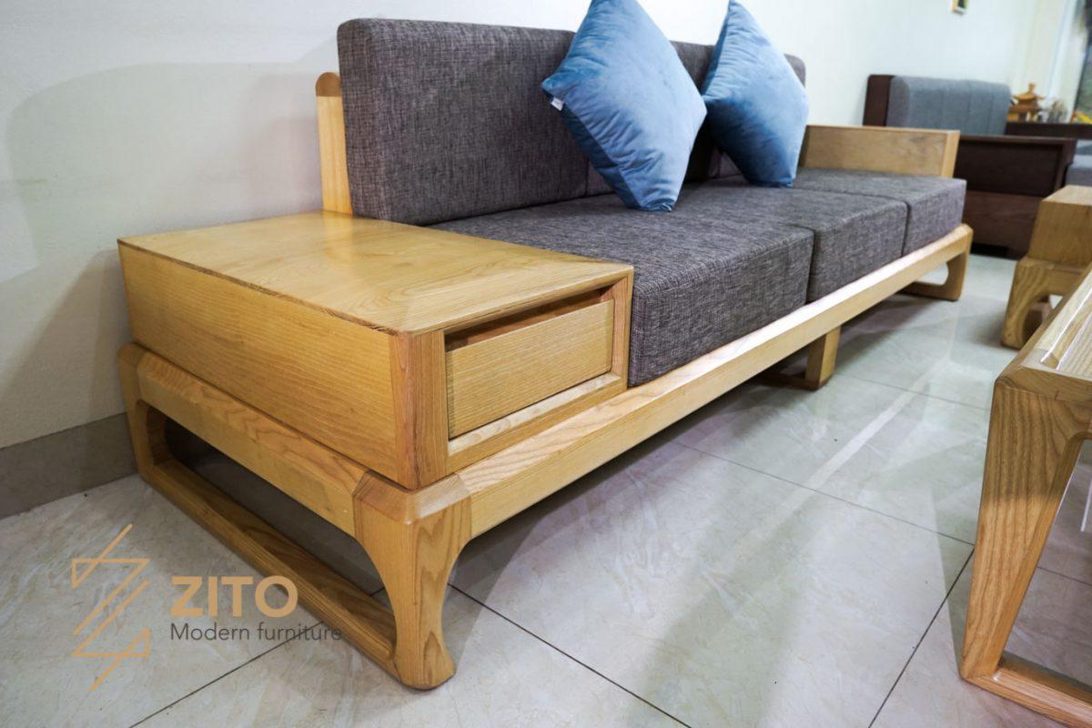 Kiểu dáng ghế sofa văng gỗ sồi nga ZG 133 S03 chân nối hiện đại
