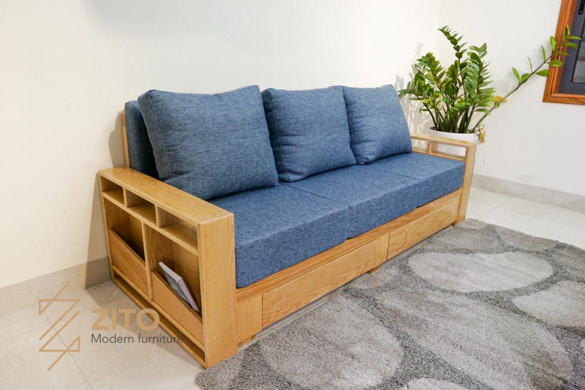 ghế sofa văng gỗ sồi ZG 140 nhỏ gọn, vuông vắn đa năng