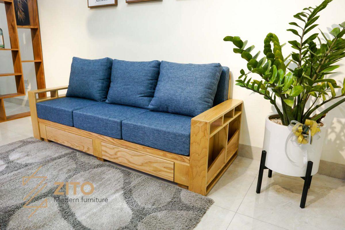 ghế sofa văng ZG 140 làm từ gỗ tự nhiên đệm nỉ cao cấp