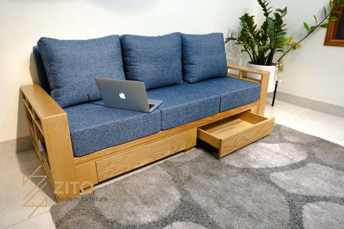 Sofa văng gỗ sồi ZG 140 có tap và ngăn kéo đựng đồ thông minh