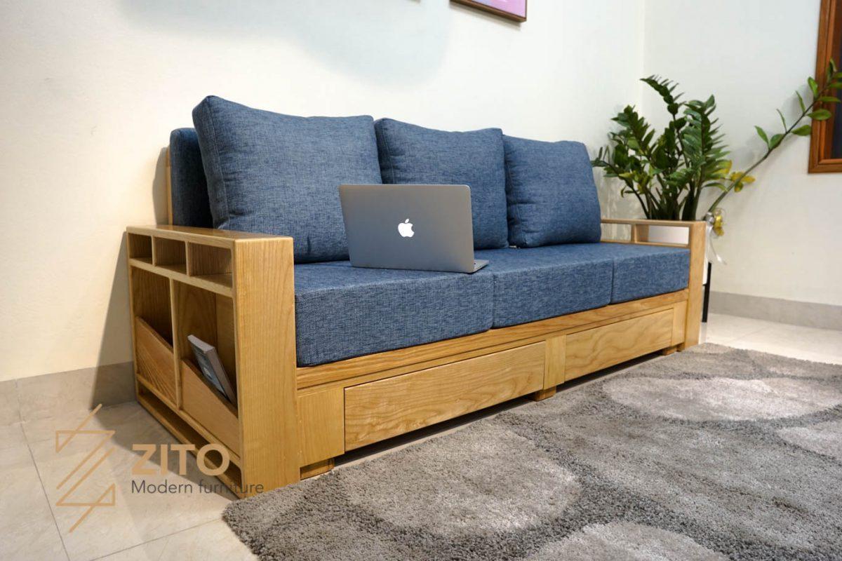 Sofa văng ZG 140 S03 được bọc đệm nỉ Hàn Quốc cao cấp