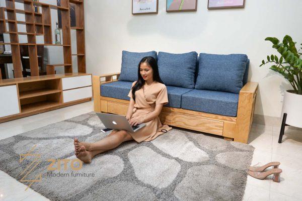 Sofa gỗ sồi văng ZG 140 S03
