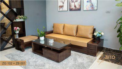Bàn ghế Sofa văng gỗ óc chó ZG 102