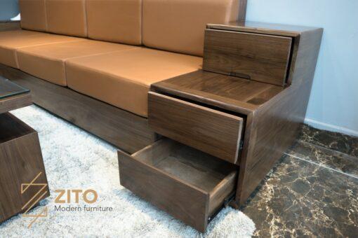 bộ sofa zg 105 kết hợp tay ghế 3 ngăn kéo tiện lợi