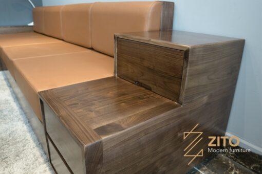 ZG 105 gỗ óc chó kết hợp đệm da