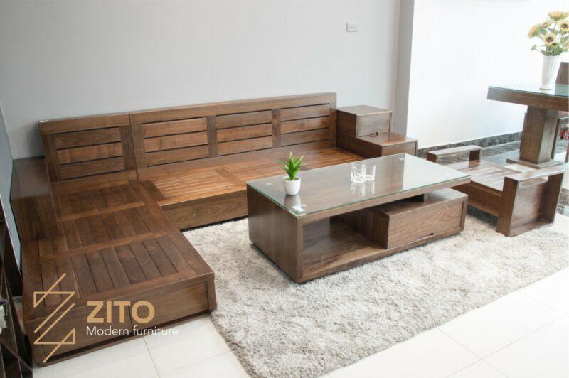 sofa gỗ óc chó zg 105 hiện đại