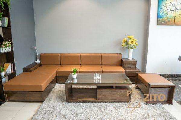 Sofa chữ L gỗ óc chó ZG 105
