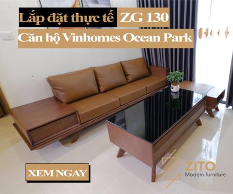 lắp đặt sofa gỗ văng tại căn hộ Vinhomes ocean park