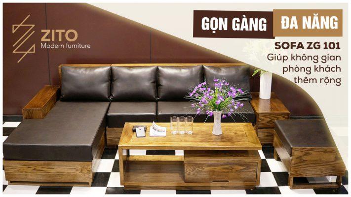 Sofa gỗ chữ L ZG101 S08