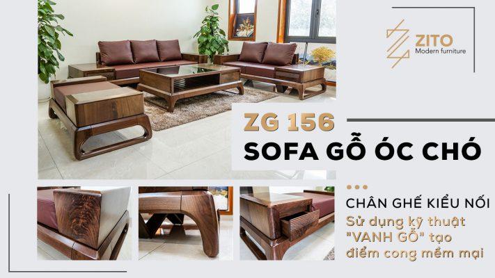 sofa gỗ óc chó thiết kế hiện đại sang trọng cho không gian phòng khách
