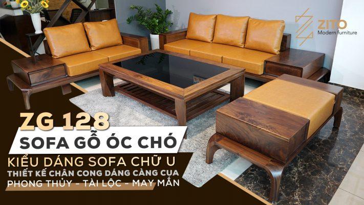 sofa kiểu dáng chữ U ZG 128 gỗ óc chó phong thủy