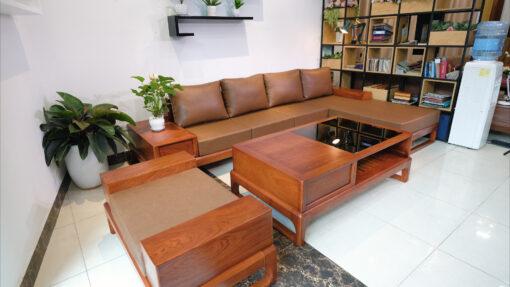 sofa chữ L ZG 146 gỗ hương đá cao cấp