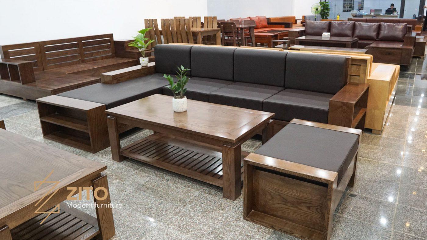 Bộ bàn ghế sofa gỗ sồi nga cao cấp hiện đại tại hải phòng địa chỉ bán nội thất uy tín tại Hải Phòng