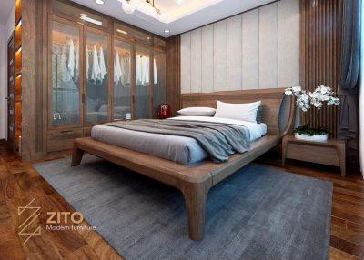 Giường ZA 801 làm từ gỗ tự nhiên cao cấp