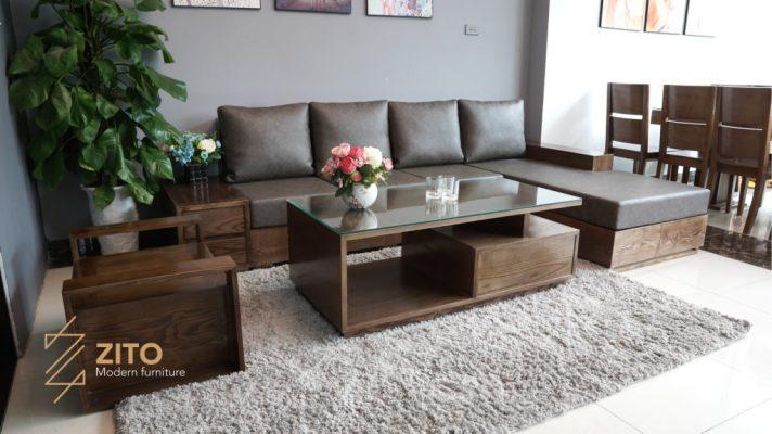 địa chỉ mua sofa gỗ góc L cho phòng khách chung cư nhà liền kề