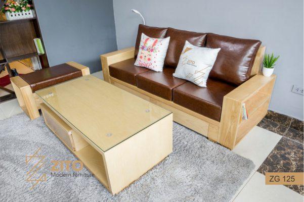 bàn ghế sofa văng gỗ Sồi ZG 125 cho phòng khách nhỏ