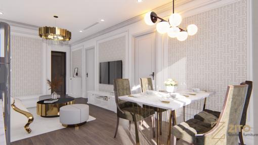 Thiết kế căn hộ 2 PN tân cổ điển