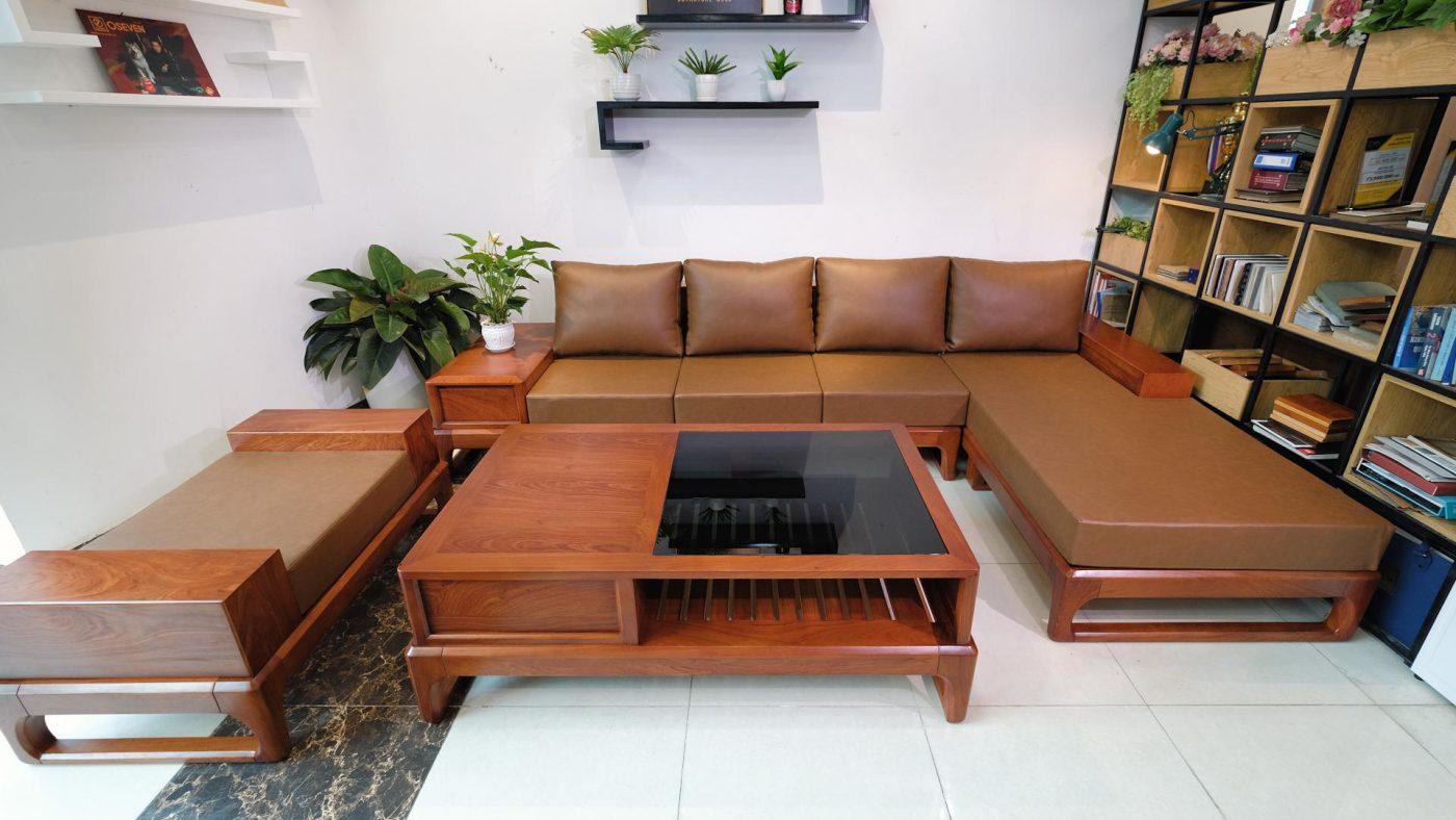 Bộ sofa gỗ hương đá nguyên khối ZG 146 góc L bê thế