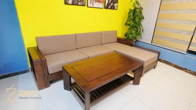Sofa ZG 141 kết hợp hài hòa cùng bàn trà nan ZB 002 màu óc chó lau vân
