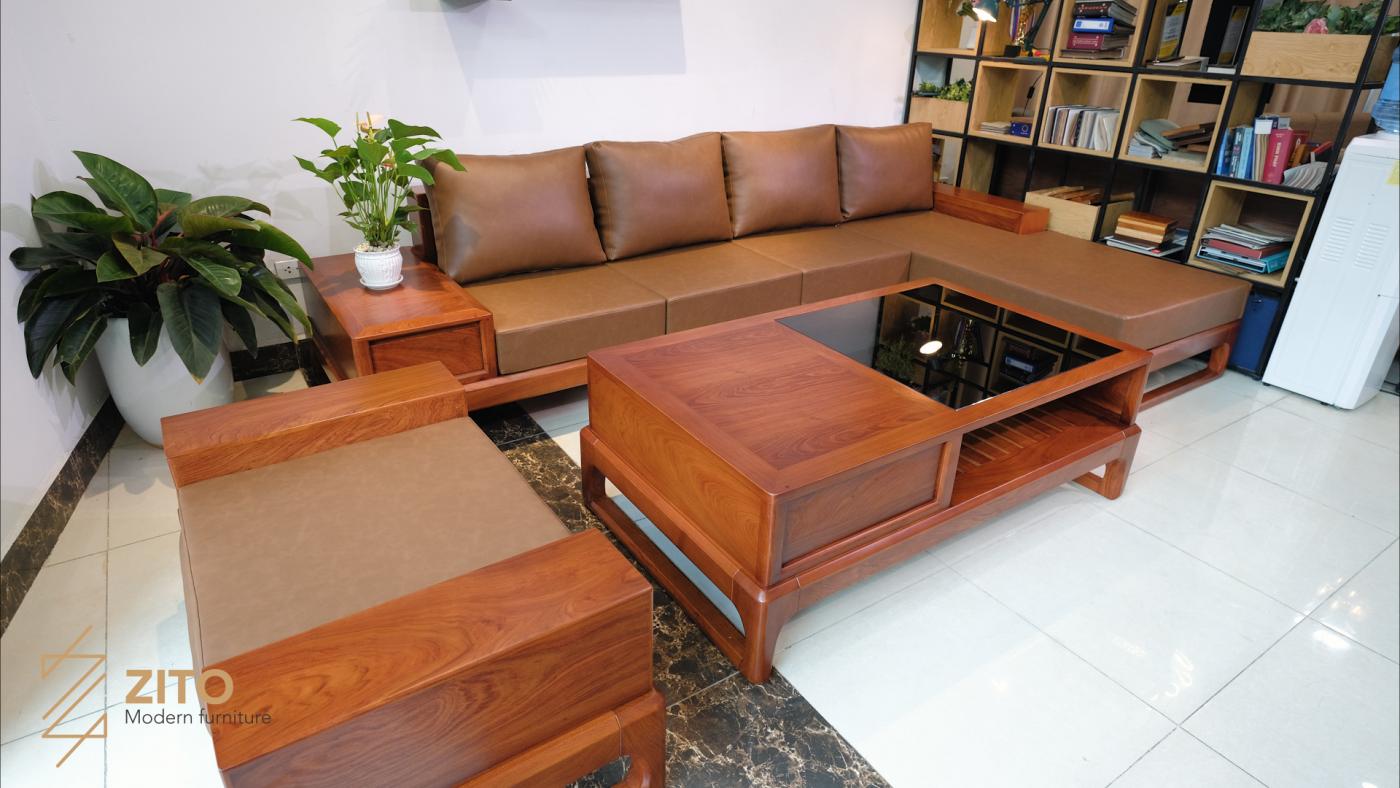 bộ sofa góc L gỗ hương đá ZG 146 cao cấp khổ lớn