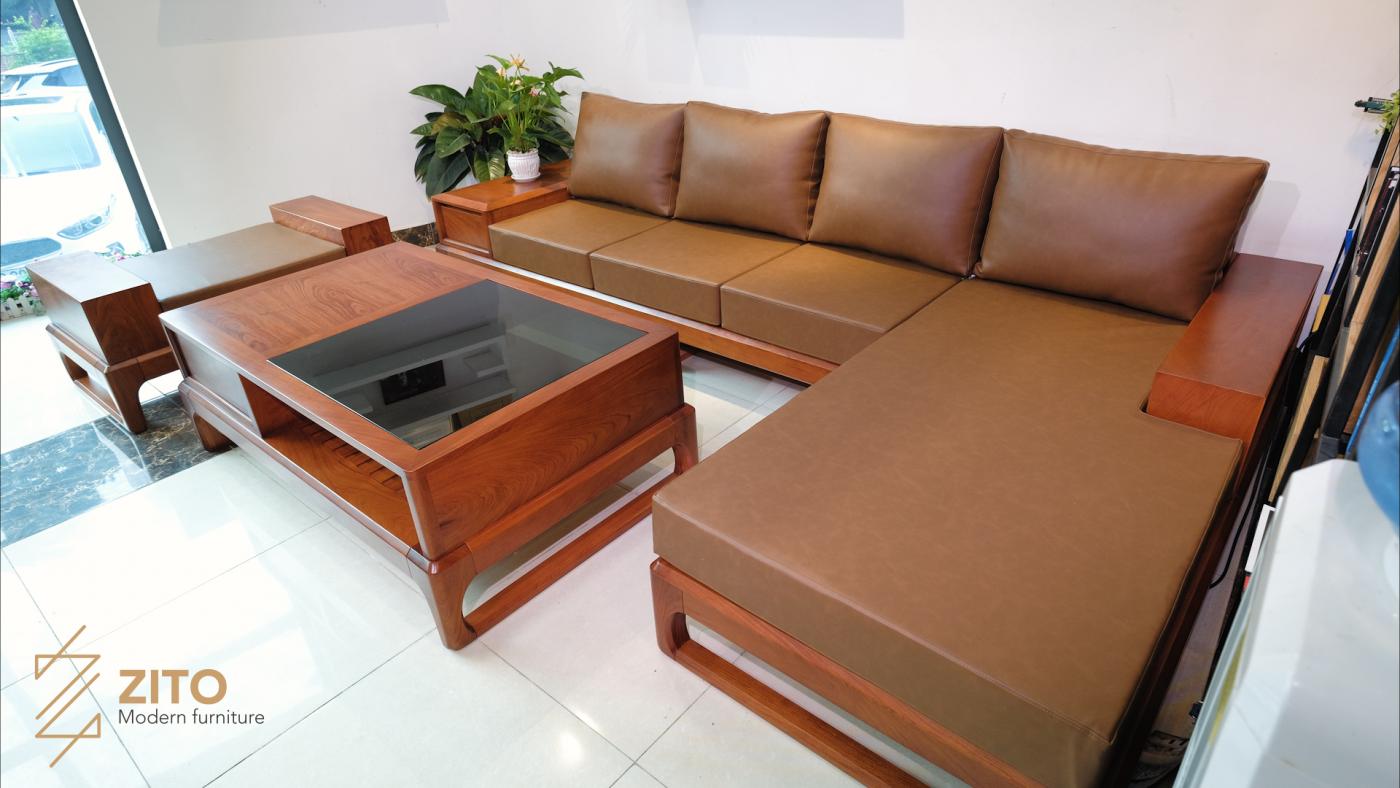 zg 146 sofa góc chữ l gỗ hương đá cho phòng khách lớn