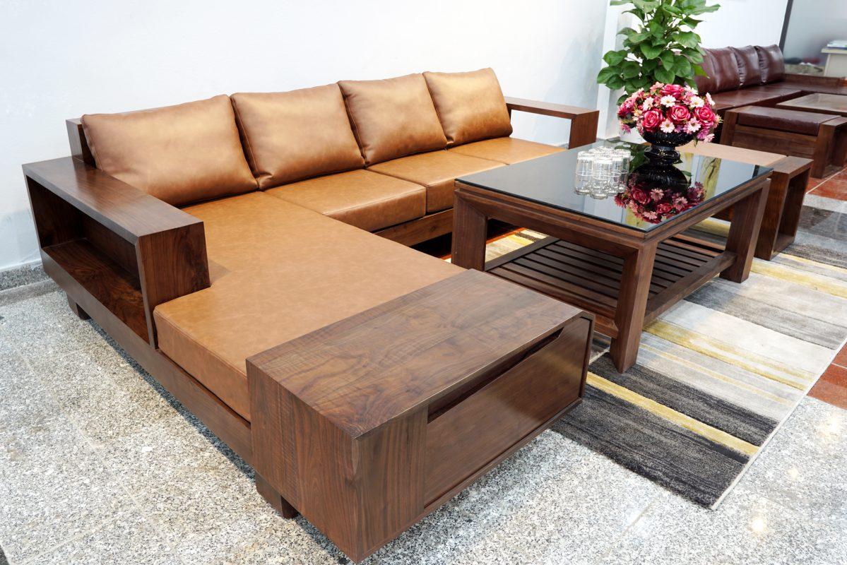 Giá sofa gỗ óc chó kiểu dáng chữ L