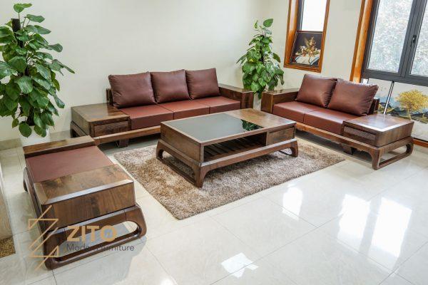giá sofa gỗ óc chó kiểu dáng chữ U