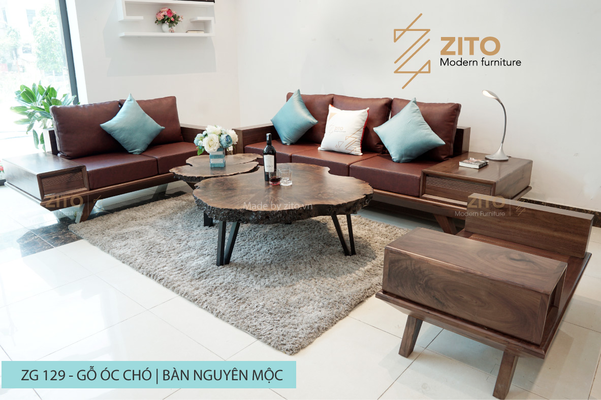 Lựa chọn sofa gỗ óc chó đúng chuẩn cho phòng khách gia đình