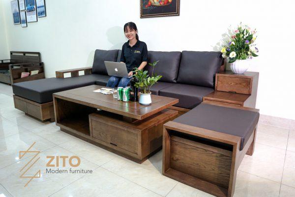bộ sofa gỗ sồi góc L hiện đại sang trọng