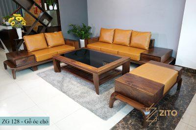 bộ bàn ghế sofa gỗ óc chó kiểu dáng chữ u hiện đại