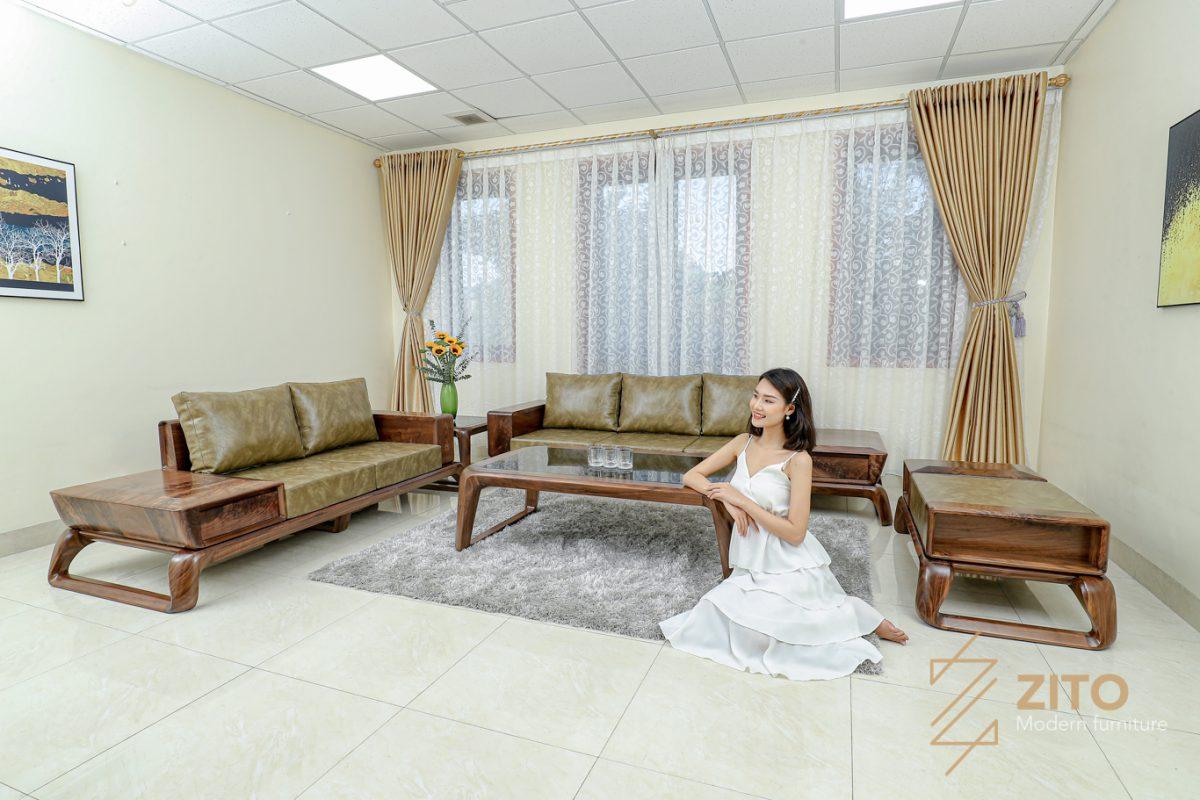 Sofa gỗ óc chó ZG 160 cho không gian sang trọng