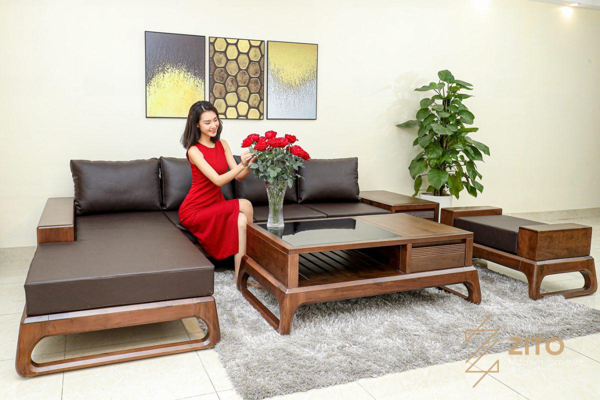 tổng quan bộ bàn ghế sofa gỗ óc chó góc l zg155 hiện đại cho phòng khách chung cư