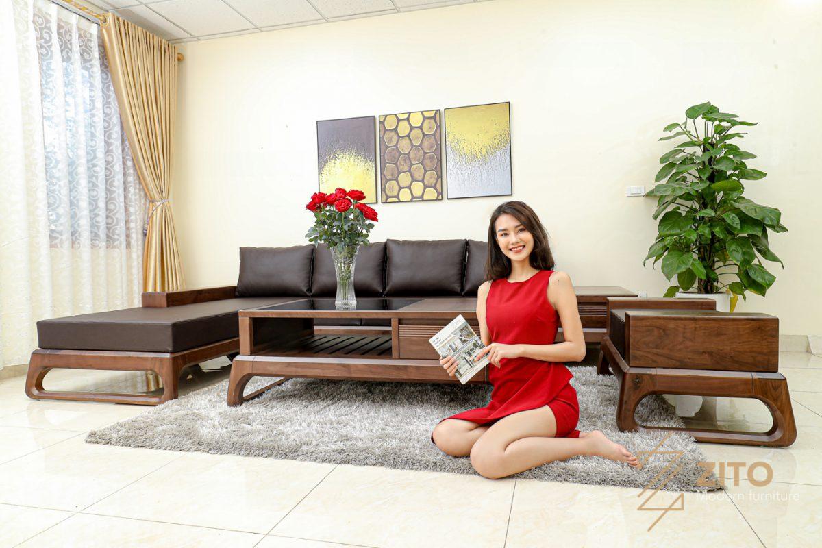 sofa góc L gỗ óc chó tiện nghi đa năng cho phòng khách
